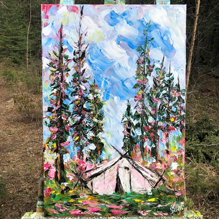 Painting by Giselle Denis Canadian fine artist of a prospector tent in the woods.