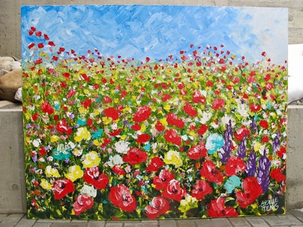 Painting by Giselle Denis Canadian fine artist of poppies and other wildflowers under a blue sky.