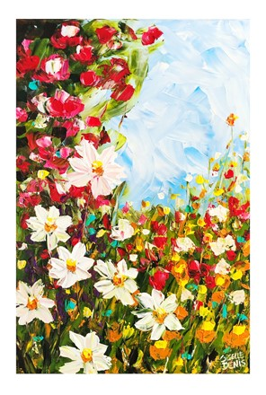 Painting by Giselle Denis Canadian fine artist of white daisies, red orange and green flowers under a blue sky.