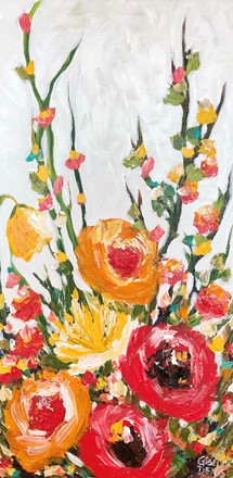 Painting by Giselle Denis Canadian fine artist of red and orange flowers with tall vines on a white background.