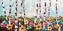 Painting by Giselle Denis Canadian fine artist of birch trees with wildflowers in the foreground.