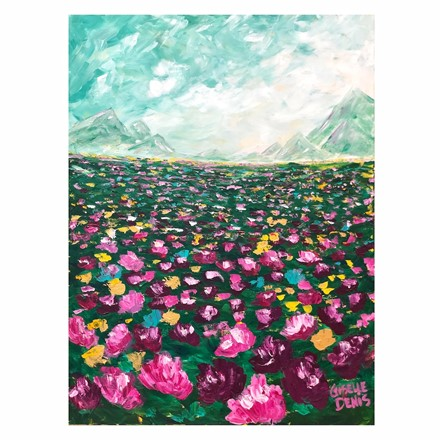 Painting by Giselle Denis Canadian fine artist of a field of pink and purple flowers under a blue sky.