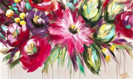Giselle Denis Fine Art - Abstract Flowers Paintings